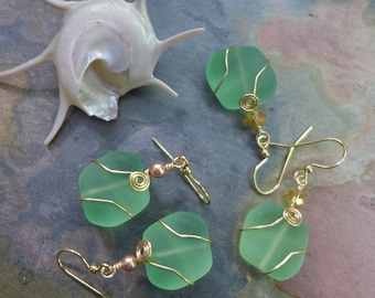 Green Sea Glass Silver Earrings- Recycled Green Glass Earrings in Gold  Earwires, Beach Weddings, Beach Glass Earrings,