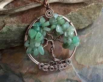Tree of Life Aventurine Jade Pendant Necklace, Wire Wrapped Aventurine/Jade Necklace, Tree of Life Jewelry, Aventurine  Necklace