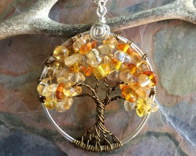 November Birthstone Necklace,Citrine Tree of Life Necklace,Tree of Life Necklace, Wire Wrapped Citrine ,Amber Tree of life Bronze/silver