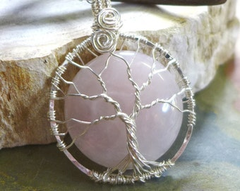Wire Wrapped Tree of Life Rose Quartz  Pendant Necklace in sterling silver,Pink Rose Quartz Necklace,Rose Quartz Pendant,Rose Quartz Jewelry