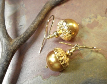Gold Pearl Acorn Earrings- Fall/Autumn Earrings -Wedding/Bridal Earrings