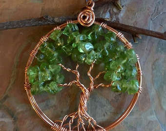 Peridot Tree of Life Necklace in Natural Copper,Wire Wrapped Copper Tree of life Necklace, Peridot Tree of Life Pendant, August Birthstone