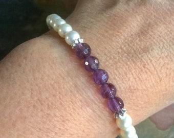 Sterling Silver Amethyst Bracelet,February Birthstone Bracelet,Purple Amethyst Pearl  Bracelet,Amethyst Yoga Adjustable Bracelet