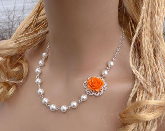 Orange Floral Pearl Necklace-Fall/Autumn Bridal/Bridesmaid Necklace,Asymmetrical Floral Pearl Necklace, Pearl Necklace & Earrings