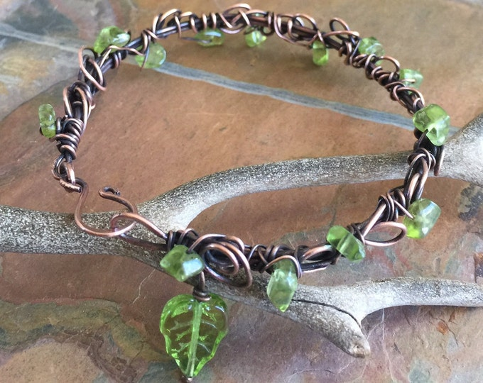 Peridot Bracelet,Wire Wrapped Peridot Copper Bracelet ,Adjustable Peridot bracelet,August Birthstone Bracelet, Bangle/Cuff Leaf  bracelet,