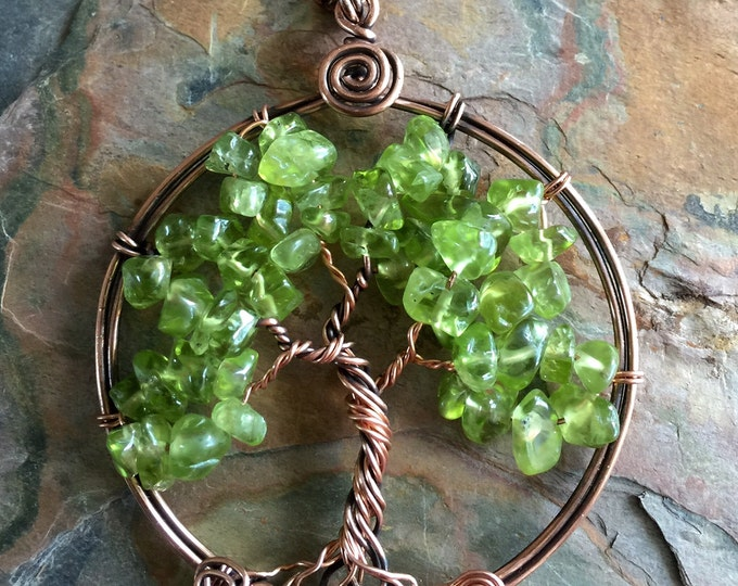 Peridot Tree of Life Necklace in Antiqued Copper,Wire Wrapped Copper Tree of life Necklace, Peridot Tree of Life Pendant,August Birthstone