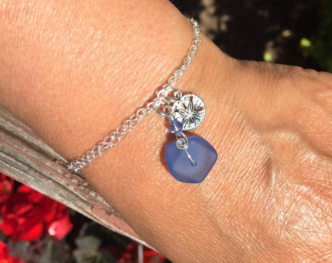 Sea Glass Bracelets in Sterling Silver,Blue Sea Glass Bracelet, Beach Weddings,Sea Beach Glass Sand dollar Bracelet, Sea Beach Glass
