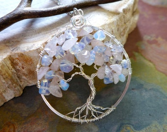 Rose Quartz Tree of Life Necklace in sterling silver,Opalite /Rose Quartz  Tree Pendant Necklace,June Birthstone Necklace,Valentine necklace