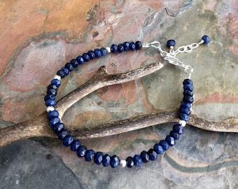 Sapphire Bracelet in Sterling Silver,September Birthstone Sapphire Bracelet,September Birthstone Jewelry, Sapphire Jewelry, Blue Bracelet