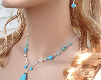 Beautiful Turquoise Jewelry Set- Wired Turquoise Crystal Necklace and Earrings Set -Gemstone Bridesmaid Jewelry