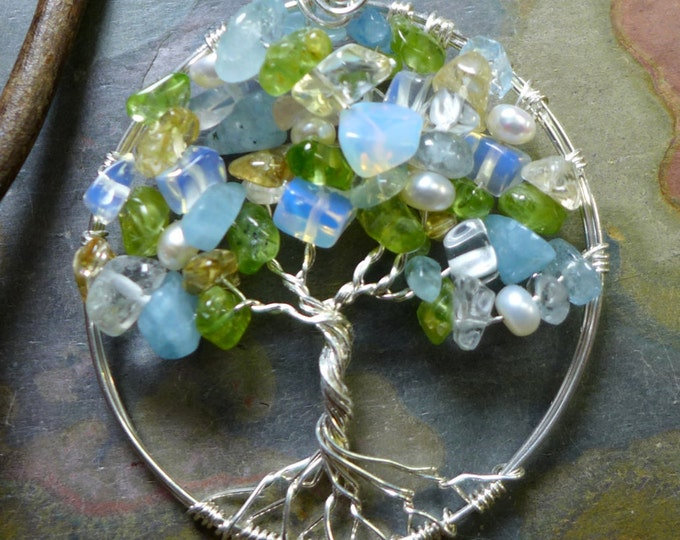 Custom/Personalized Tree of Life Pendant-Wire Wrapped  Tree of Life Gemstone-Birthstone Gemstone Tree of Life for Mother/Daughter