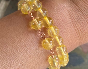 Citrine Gemstone Bracelet,Citrine Link Bracelet,Citrine stretch Adjustable Bracelet, November Birthstone Bracelet, Stacking Bracelet