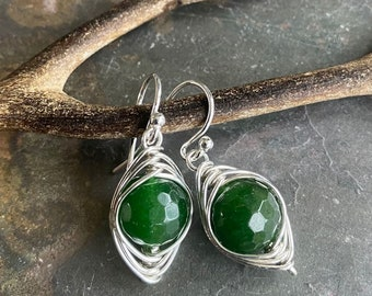 Jade Earrings in Sterling Silver,Wire Wrapped Herringbone green Jade Dangle Earrings,May Birthstone earrings, Healing Gemstone Earrings
