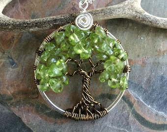 Peridot Tree of Life Pendant  Sterling Silver Chain,Wire Wrapped Peridot Gemstone Tree of life, August Birthstone Necklace,Tree of Life,