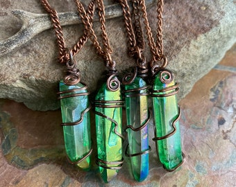 Wire Wrapped Blue Green Aura Quartz Crystal Necklace,Aura Quartz Point Necklace in Copper, Titanium Aura Quartz Crystal Healing Jewelry