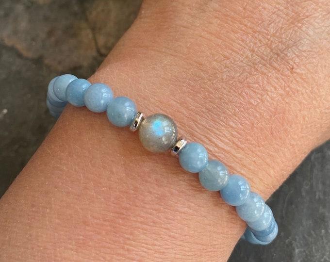 Natural Aquamarine Labradorite Bracelet,March Birthstone Bracelet,Labradorite Stretch Bracelet,Yoga Bracelet, Healing gemstone, Labradorite