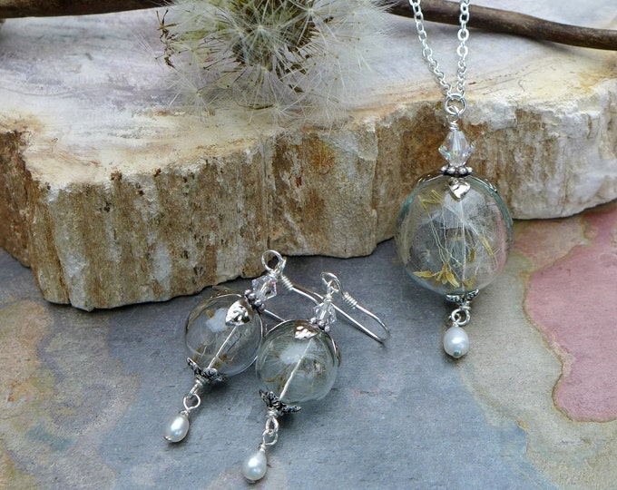 Dandelion Pearl Drop Necklace, Dandelion Earrings with Pearls- Real/Genuine Dandelion Flower Silver earrings,Wish Jewelry, Bridal Jewelry