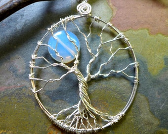 Tree of Life Pendant- Blue Opalite Full Moon Wire Wrapped Tree of Life Pendant Necklace, Opalite Necklace in sterling silver.