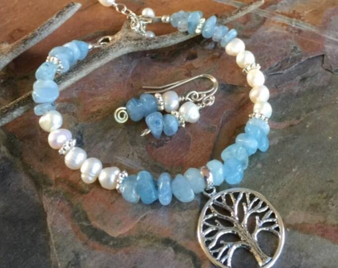 Aquamarine Pearl Bracelet /Earrings,Wire Wrapped Aquamarine Bracelet Tree of Life Charm, March and June Birthstone Bracelet/ Earrings