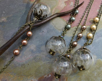Dandelion Necklace-Real Dandelion Seed Flower Pearl Brass Necklace - Make a Wish Gift, Dandelion Pearl Pendant,Birthday Gift