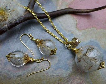 Dandelion Necklace in Gold, Dandelion Earrings in gold,a Wish Gift, Dandelion Jewelry. Bridal/Wedding Jewelry, Wish Jewelry,