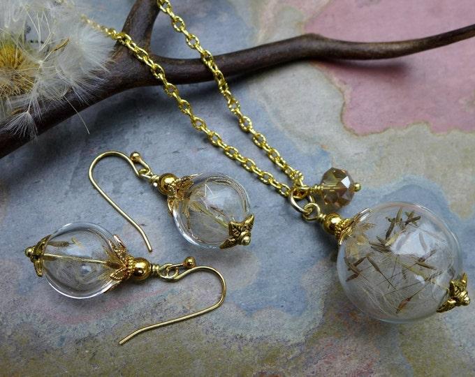 Dandelion Necklace in Gold, Dandelion Earrings in gold,a Wish Gift, Dandelion Jewelry. Bridal/Wedding Jewelry, Wish Jewelry,