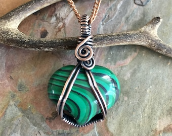 Wire Wrapped Malachite Pendant Necklace,Heart Shaped Malachite Necklace,Wire Wrapped Malachite Necklace,Green/Black Malachite Necklace