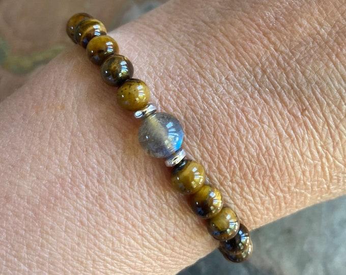 Natural Tiger's Eye bracelet Bracelet,Gemstone Bracelet,Tiger's Eye Stretch Bracelet,Yoga Bracelet, Healing gemstone, Brown Bracelet