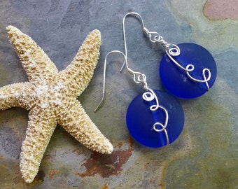 Cobalt Blue Sea Glass Earrings in Sterling Silver, Wired Round Cobalt Blue Sea Glass Earrings, Beach Weddings, Blue Glass Dangle Earrings