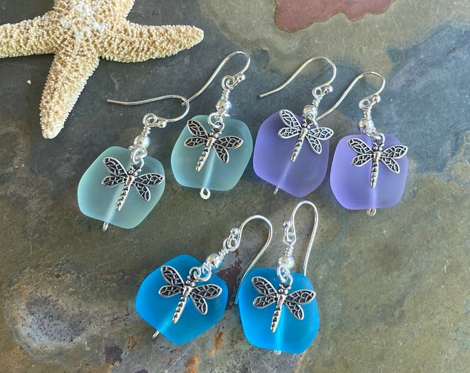 Sterling Silver Sea Glass Dragonfly Earrings,Periwinkle Sea Glass Earrings, Beach Weddings,Blue earring, Green Sea glass Earrings,
