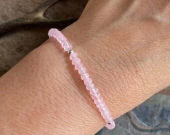 Rose Quartz Bracelet in Sterling Silver,Pink Rose Quartz Jewelry, Love Bracelet,Pink Rose Quartz Necklace, Rose quartz Jewelry,Gifts for her