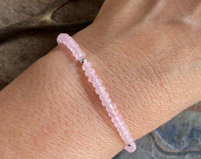Rose Quartz Bracelet in Sterling Silver,Pink Rose Quartz Jewelry, Love Bracelet,Pink Rose Quartz Necklace, Rose quartz Jewelry,Gifts for her