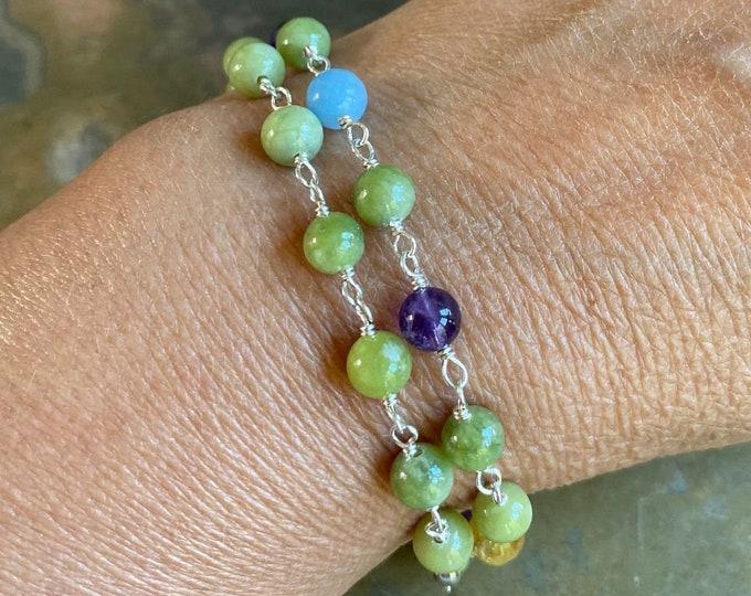 Peridot August Gemstone Link Bracelet, Wire Wrapped Peridot Bracelet,Peridot Gemstone Jewelry, August Birthstone Bracelet, Stacking Bracelet