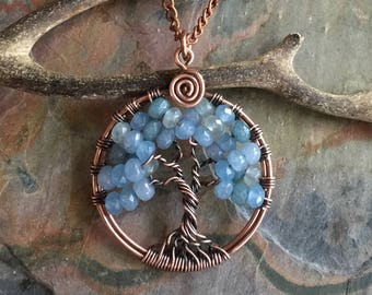 Aquamarine Tree of Life Necklace, Mini/Petite/Small  Aquamarine Tree of Life Antiqued Copper Necklace,March Birthstone Necklace, March Tree
