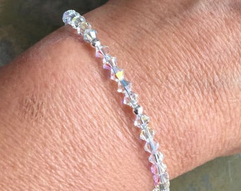 Crystal Bracelet,Wedding/Bridal Crystal Bracelet in Sterling Silver, Swarovski Crystal Bracelet, Crystal Jewelry,Bridesmaid Crystal Bracelet