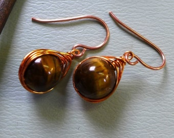 Wire Wrapped Earrings, Tiger eye Earrings,Wire Wrapped Tiger Eye Herringbone Earrings in Copper, Danging Earrings in Copper,