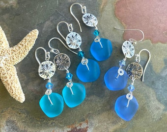 Sea Glass Sand Dollar Earrings Sterling Silver Earwires, Blue Sea Glass Earrings, Beach Weddings, Sand Dollar Sea Glass Dangling Earrings