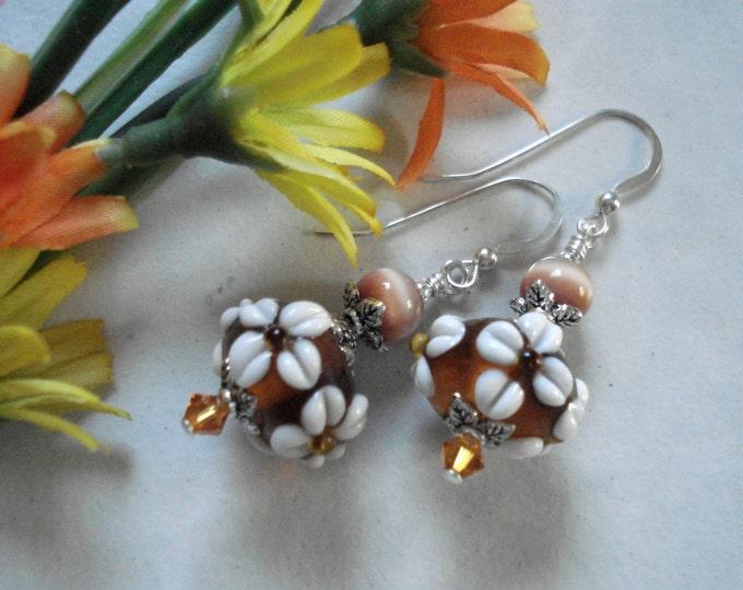Lampwork Glass Floral Crystal Silver Earrings