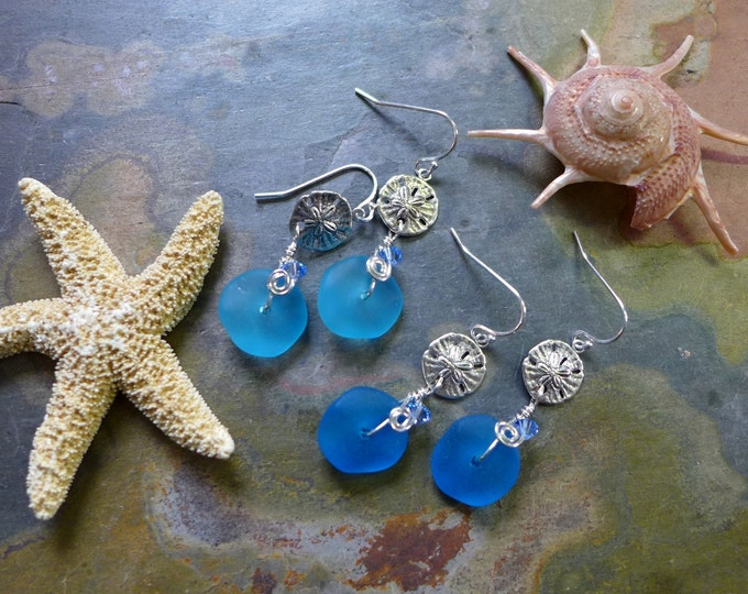 Blue Sea Beach Glass Earrings in Sterling Silver Earwires, Blue Sea Glass Earrings, Beach Weddings, Blue earrings-You Pick Your Favorite