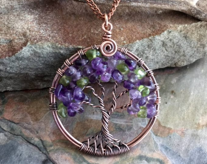 Amethyst/Peridot Tree of Life Necklace,Amethyst/Peridot Necklace in Copper,Amethyst Tree of Life Pendant,February Birthstone Tree Necklace