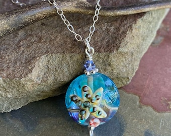 Starfish Necklace in Sterling Silver, Starfish Lampwork glass Necklace, Beach theme Necklace, Ocean Theme Starfish Necklace, Beach Wedding