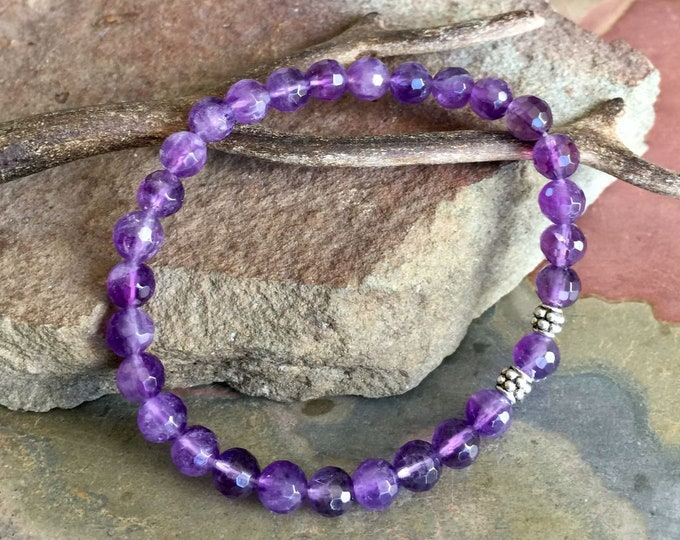Amethyst Bracelet,February Birthstone Bracelet,Purple Amethyst Elastic/Stretch Bracelet,Amethyst Yoga Adjustable Bracelet, Healing gemstone