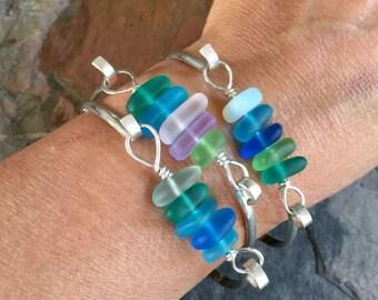 Sea Beach Glass Bangle Bracelet in Sterling Silver, Beach Glass bracelet, Blue Green Sea Glass bracelet, Sterling Silver Bangle Bracelet