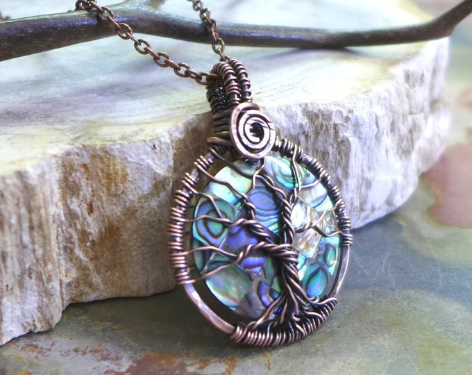 Antiqued Copper Wire Wrapped Abalone Pendant,PETITE/SMALL Abalone Tree of Life Necklace, Round Abalone Tree of Life Pendant Necklace