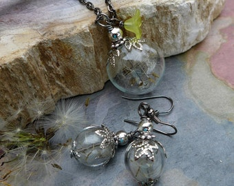Dandelion Necklace, Real Dandelion Seed Flower Necklace and Earring SET With Gunmetal Chain- Make a Wish Gift, Birthday Gift, Wish Gif