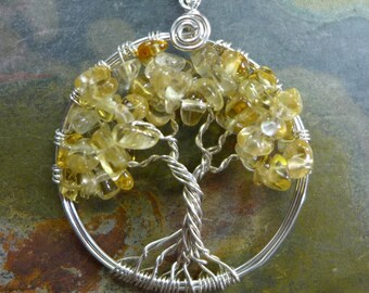 Citrine Tree of Life Necklace with .925 Sterling Silver Chain-Wire Wrapped Citrine Tree of life Necklace, November  Birthstone Tree of Life