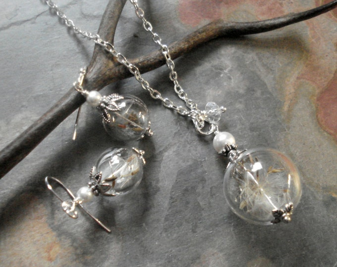 Dandelion Necklce, Dandelion Crystal Pearl Silver Necklace,Dandelion Earrings, a Wish Dandelion jewelry,Globe Jewelry, Bridesmaid Necklace