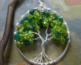 Green Tree of Life Necklace,Peridot/Jade tree of Life Pendant,May/August Birthstone Tree of Life Necklace,Sterling Silver Tree of Life