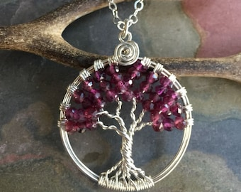 Sterling Silver Garnet Necklace,Garnet Tree of Life, Wire Wrapped Garnet Tree of Life Pendant Necklaace, January Birthstone Necklace for Her