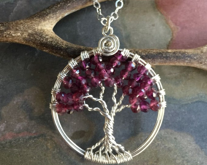 Garnet  Necklace,Garnet Tree of Life, Wire Wrapped Garnet Tree of Life Pendant with .925 Sterling Silver Chain, January  Birthstone,
